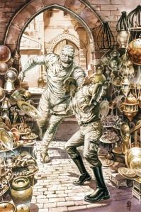 A mani nude contro la mummia, usando un vassoio come frisbee... un benny io glielo darei.